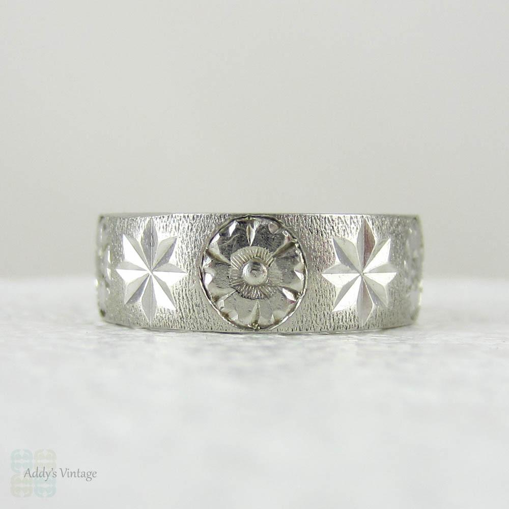Vintage Wedding Ring, Engraved Floral Design Wide Platinum