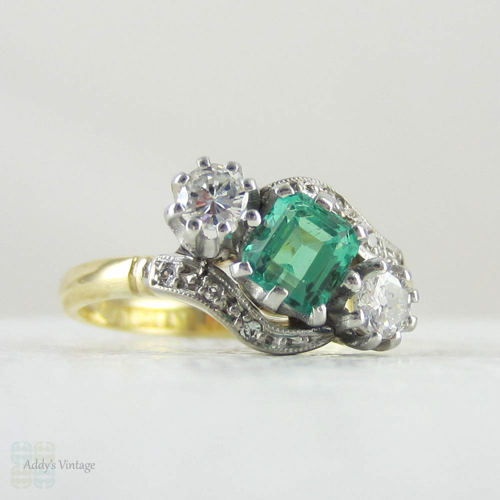 an cut ring set yellow eternity gold wide shop and emr half channel brilliant emerald diamond hallmarked