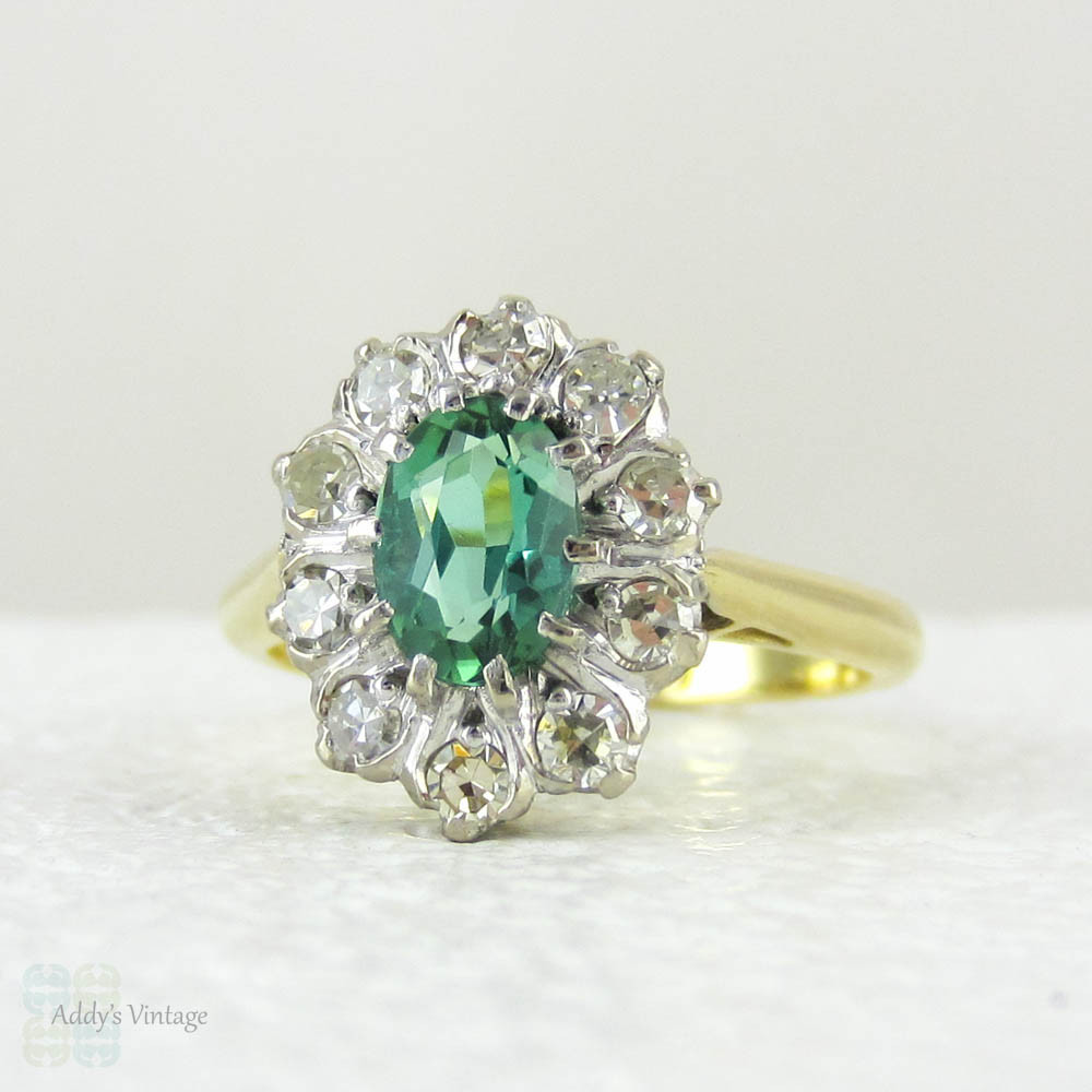 diamond tourmaline mint il ring listing zoom cluster green ttej rings fullxfull engagement