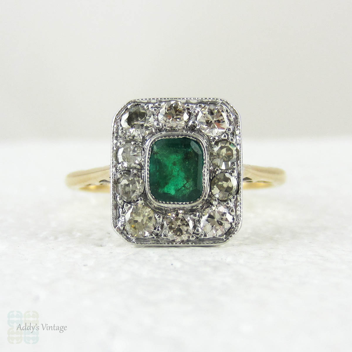 Emerald Engagement Ring With Old European Cut Diamond Halo