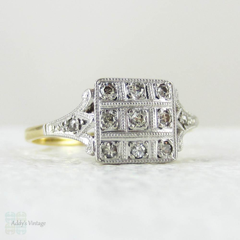 Art Deco Engagement Diamond Ring Bold Square Shaped