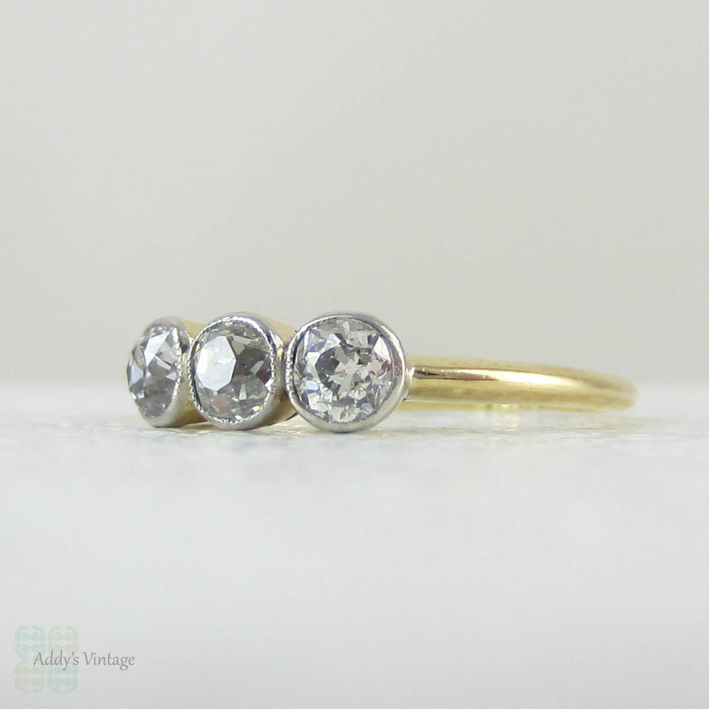 Old Mine Cut Diamond Engagement Ring Three Stone Bezel