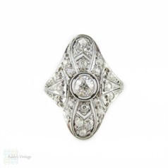 Art Deco Diamond Cocktail Ring, Filigree Design White Gold Dinner Ring with Old European Cut Diamonds, 1910s - 1920s.