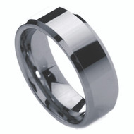 8mm - Unisex or Men's Tungsten Wedding Band w/ Beveled Edge. Silver Tone Men's Wedding Rings - Polished Comfort Fit