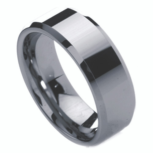 8mm – Unisex or Men's Tungsten Ring w/ Beveled Edge. Silver Tone Men's Wedding Bands – Polished Non Faceted Comfort Fit