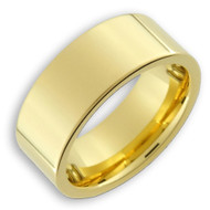 8mm - Unisex or Men's Tungsten Wedding Band. 14K Gold Plated Wedding bands for Men. Tungsten Carbide Polished Comfort Fit.