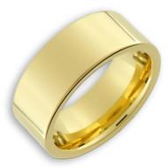 8mm - Unisex or Men's Tungsten Wedding Band. 14K Gold Plated Wedding bands for Men. Tungsten Carbide Polished Comfort Fit.