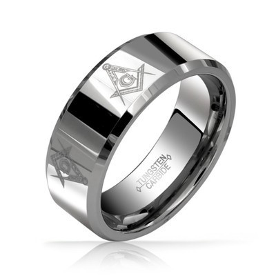 8mm – Freemason – Men's Masonic Tungsten Ring with Beveled Edge. Silver Tone (Non Faceted / Laser Engraved Masonic band) Comfort fit.