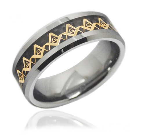 8mm - Men's Freemason Ring / Masonic Ring - Gold and Black Inlay Tungsten Ring Comfort Fit