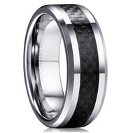 8mm - Unisex or Men's Tungsten Wedding Band. Silver and Black Carbon Fiber Inlay Comfort Fit.