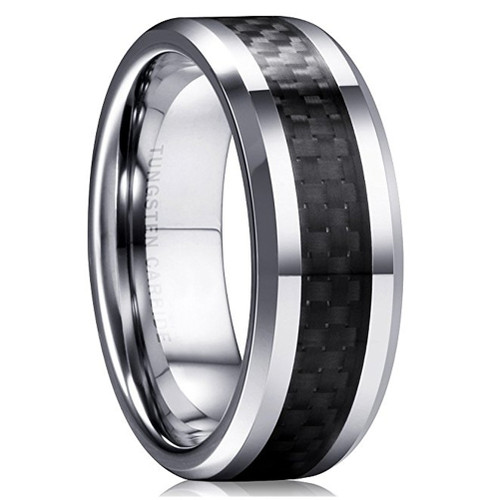 8mm – Unisex or Men's Tungsten Wedding Band Ring (Silver Tone and Black Carbon Fiber Inlay). Men's Wedding Bands Comfort Fit.
