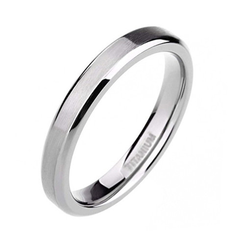 4mm Womens Titanium Wedding Bands Silver Tone Beveled Edge Ring
