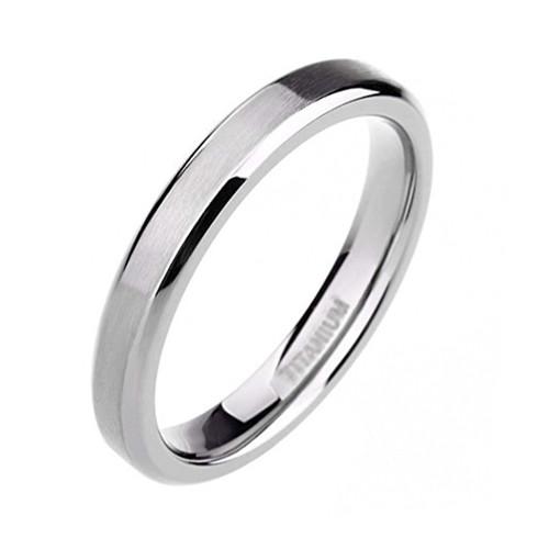 4mm – Unisex or Women's Wedding band. Silver Tone Titanium Wedding Band Rings. Beveled Edge Comfort Fit Matte Finish. Light Weight