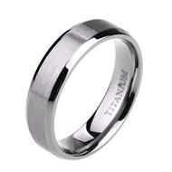 6mm - Women's or Men's Titanium Wedding Bands Silver. Light Weight Beveled Edge Ring. Comfort Fit, Matte Finish.