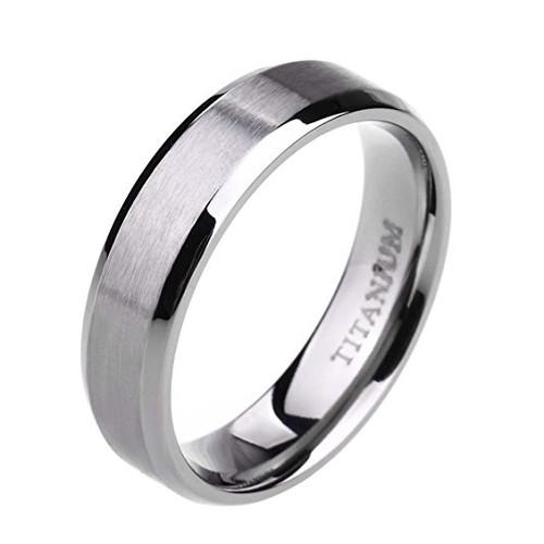 6mm – Women's or Men's Wedding band. Titanium Wedding Band Rings. Beveled Edge Comfort Fit Matte Finish. Silver Tone Light Weight