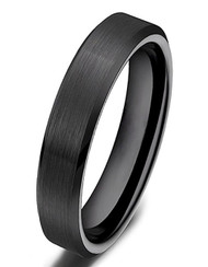 4mm - Women's Ceramic Wedding Band. Black Brushed Top Comfort Fit Wedding Ring