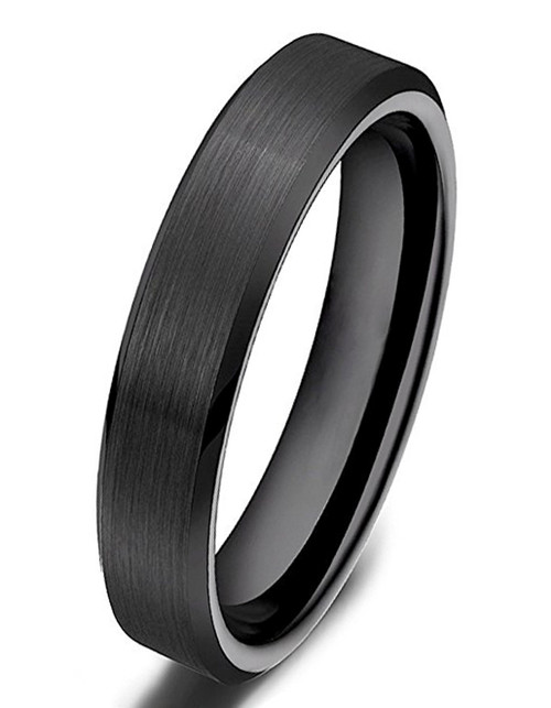4mm – Unisex or Women's Wedding Band. Black Ceramic Rings Brushed Comfort Fit Wedding Band