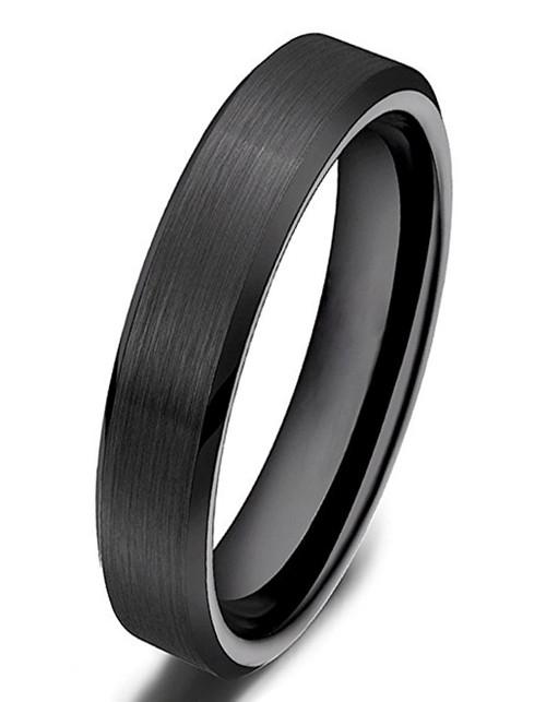 4mm – Unisex or Women's Wedding Band. Black Ceramic Rings Brushed Comfort Fit Wedding Band