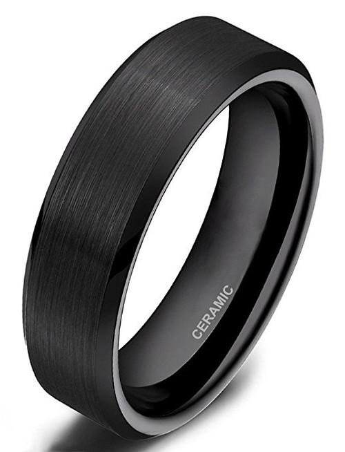 6mm – Unisex, Women's or Men's Wedding Band. Black Ceramic Rings Brushed Comfort Fit Wedding Band