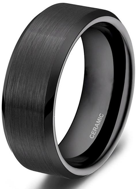 Image of 8mm - Unisex or Men's Wedding Bands. Mens Wedding Rings Black Ceramic Rings Brushed Comfort Fit Wedding Band