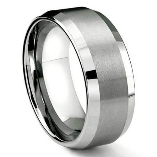 8mm – Unisex or Men's Tungsten Men's Wedding Band Ring in Comfort Fit. Silver Tone Matte Finish Angled Beveled Edges