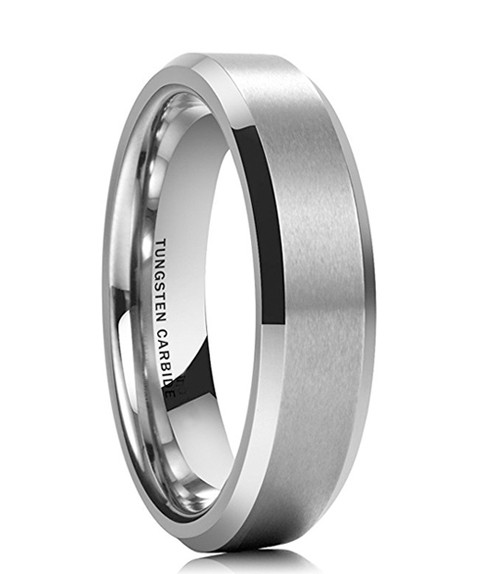 6mm – Unisex or Women's Tungsten Wedding Band Ring in Comfort Fit. Silver Tone Matte Finish Angled Beveled Edges
