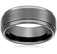 8mm - Unisex or Men's Tungsten Wedding Bands. Black High Polish Sides and Matte Finish. Tungsten Carbide Comfort Fit.