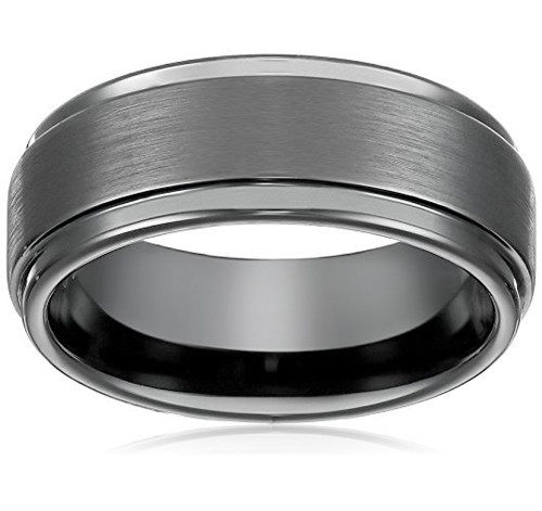 8mm – Unisex or Men's Wedding Bands – Mens Wedding Rings Black Tungsten Carbide. High Polish Sides and Matte Finish. Comfort Fit.