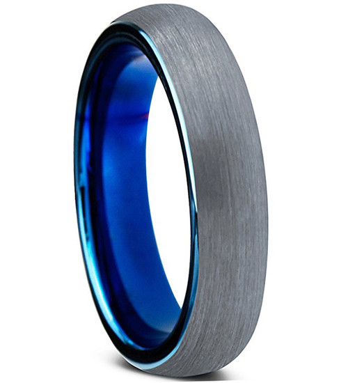 4mm – Unisex or Women's Tungsten Wedding Band Ring. Comfort Fit Gray and Blue Round Domed Brushed. Unisex Wedding Bands
