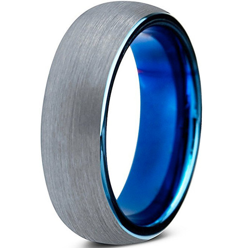6mm – Unisex, Women's or Men's Tungsten Wedding Band Ring. Comfort Fit Gray and Blue Round Domed Brushed. Unisex Wedding Bands
