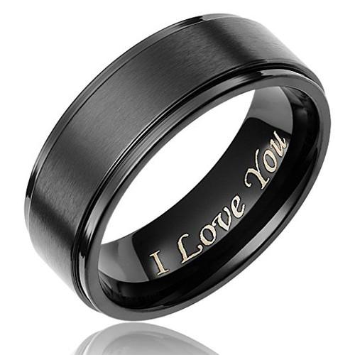 8mm – I Love You – Unisex or Men's Wedding Band. Mens Wedding Rings Black Titanium Ring. Light Weight Wedding Band Engraved Comfort Fit