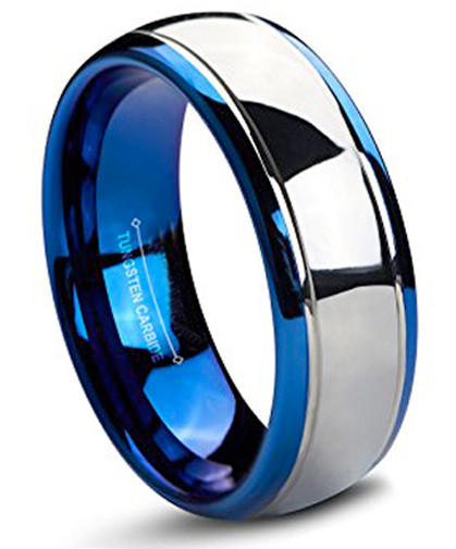 8mm – Unisex or Men's Wedding Band. Tungsten Carbide Wedding Band Blue / Silver Dome Gunmetal Bridal Ring – Mens Jewelry