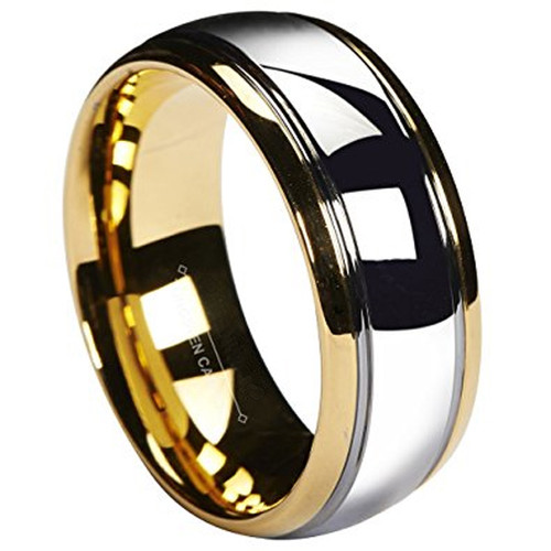 8mm – Unisex or Men's Wedding Band. Tungsten Carbide Wedding Band Gold/Silver Dome Gunmetal Bridal Ring – Mens Jewelry