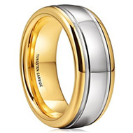 8mm - Unisex or Men's Tungsten Wedding Band. Gold and Silver Dome Gunmetal Bridal Ring. Tungsten Carbide Wedding Ring. Mens Jewelry