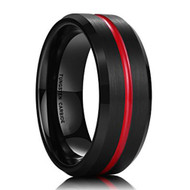 8mm - Unisex or Men's Tungsten Wedding Band. Black and Red Grooved. Matte Finish Tungsten Carbide Ring with Beveled Edge