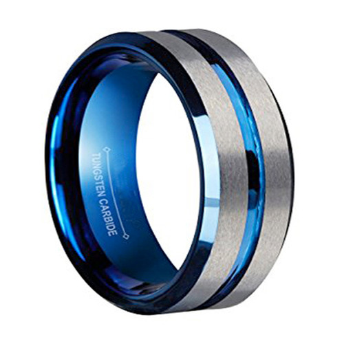 8mm – Unisex or Men's Wedding Band. Gray Matte Finish Tungsten Carbide Ring with Blue Beveled Edge Men's Wedding Band