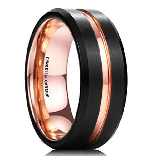 8mm – Unisex or Men's Wedding Band. Mens Wedding Rings Black Matte Finish Tungsten Carbide Ring with Rose Gold Beveled Edge Men's Wedding Band