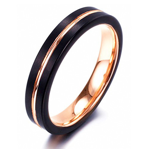 4mm – Unisex or Women's Wedding Band. Black Matte Finish Tungsten Carbide Ring with Rose Gold Beveled Edge Women's Wedding Band