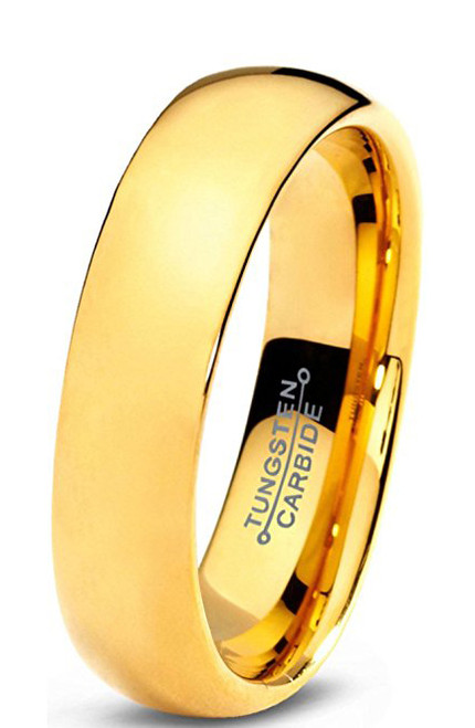 Image of 5mm - Unisex or Women's Wedding Band. Tungsten Wedding Band Ring for Men Women Comfort Fit 18K Yellow Gold Plated Domed Polished