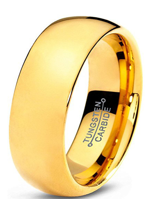 Image of 7mm - Unisex or Men's Wedding Band. Tungsten Wedding Band Ring for Men or Women. Comfort Fit 18K Yellow Gold Plated Domed Polished