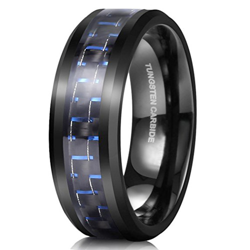 8mm – Unisex or Men's Wedding Bands. Mens Tungsten / Men's Wedding Rings Black. Plated with Black and Blue Carbon Fiber Inlay
