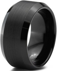 10mm - Unisex or Men's Tungsten Wedding Bands. Black Tungsten Carbide Ring. Brushed Top Comfort Fit