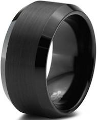 10mm - Unisex or Men's Tungsten Wedding Bands. Black Tungsten Carbide Ring. Brushed Top Comfort Fit
