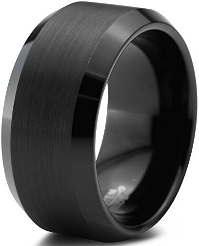 Image of 10mm - Unisex or Men's Wedding Bands. Mens Wedding Rings Black Tungsten Rings Brushed Comfort Fit Wedding Band