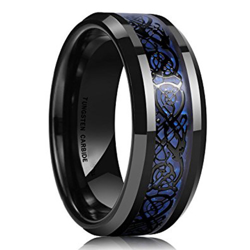 8mm Unisex or Mens Tungsten Wedding Band Celtic Wedding Bands