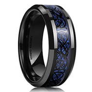 8mm - Unisex or Men's Tungsten Wedding Band. Celtic Wedding Bands Black with Blue Resin Inlay. Celtic Knot Tungsten Carbide Ring