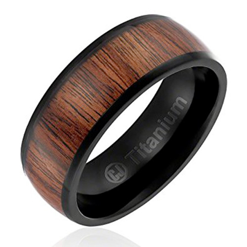 8mm – Unisex or Men's Wedding Bands. Titanium Ring Light Weight. Mens Wedding Rings Black Plated with Dark Wood Inlay / Domed Top