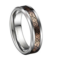 6mm - Unisex or Women's Tungsten Wedding Band. Celtic Wedding Band Silver with Rose Gold Resin Inlay Celtic Knot Tungsten Carbide Ring