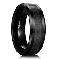8mm - Unisex or Men's Tungsten Wedding Band. Black Ring with Black Carbon Fiber Inlay and Beveled Edges