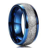 8mm - Unisex, Women's or Men's Tungsten Wedding Band. Blue Tone Ring with Inspired Meteorite. Domed Top Tungsten Carbide Comfort Fit.